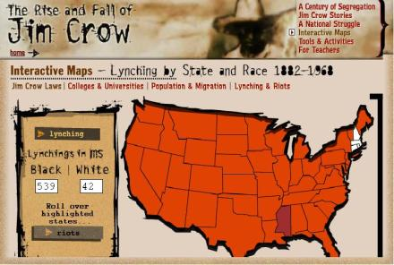 "With 539 blacks lynched, Mississippi had the largest total number of any state from 1882-1968. Screen shot from ""The Rise and Fall of Jim Crow"""