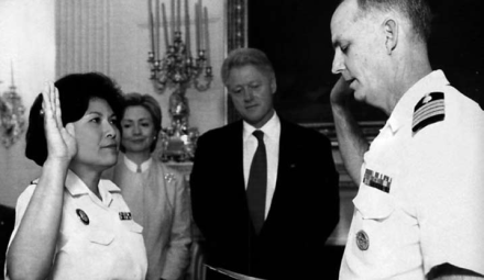 "In 2000, Navy Captain Eleanor ""Connie"" Mariano, Medical Corps, was promoted to Rear Admiral, the highest military rank occupied by a Filipino American. This promotion displays the values and equal rights Filipinos were fighting for."