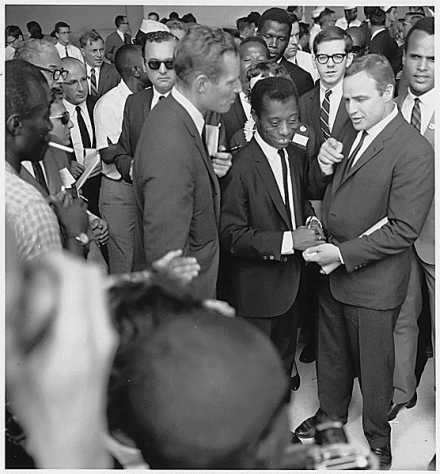 James Baldwin (center), 1963, Wikimedia Commons.