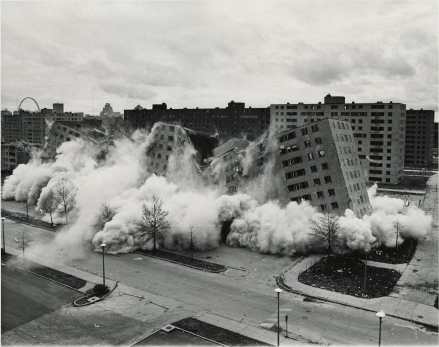 Pruitt Igoe housing project destroyed. Photo courtesy of Wikimedia Commons