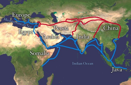 Map of the Silk Route, photo courtesy of Wikimedia Commons