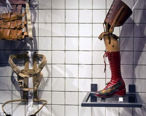 A buckled corset and prosthetic limb worn by the Mexican artist Frida Kahlo, now on display in her former home in Mexico City.