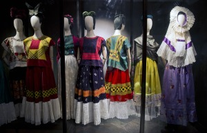 The Tehuana dress originated in Oaxaca, a southeastern region of Mexico.