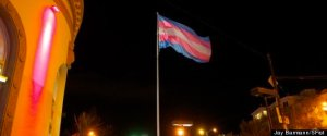 The Trans flag flying in Harvey Milk Square in San Francisco. Photo by Jay Barmann.