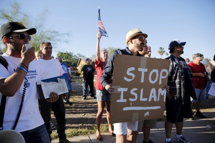 "Demonstrators shout during ""Freedom of Speech Rally Round II"" outside Islamic Community Center in Phoenix"